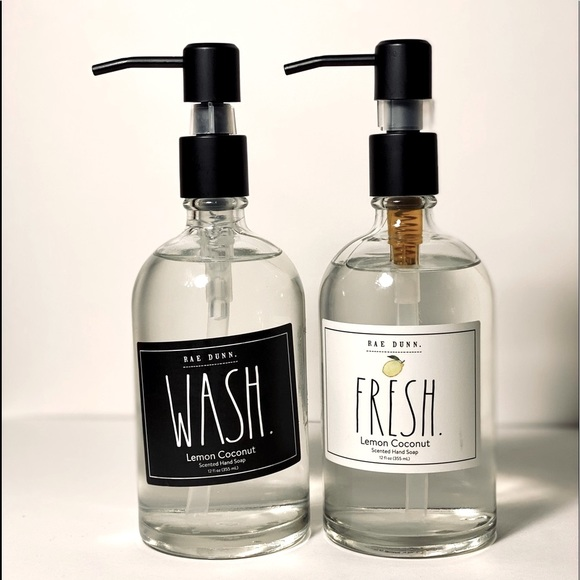 Rae Dunn WASH/FRESH set of 2 scented hand soap NWT